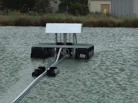 pump pontoon with pipe float